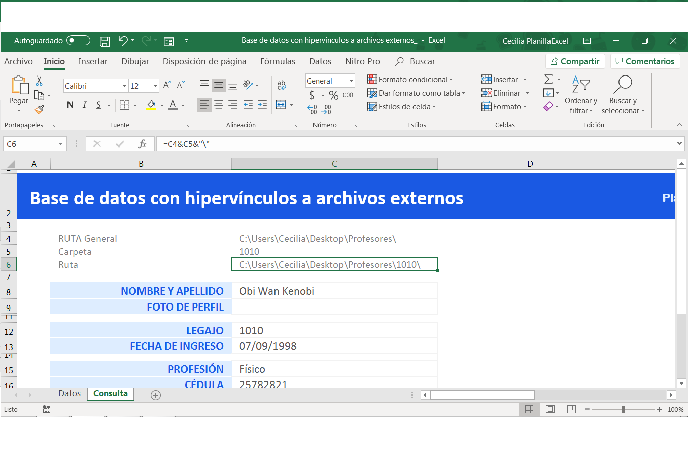 Base de datos excel - ruta