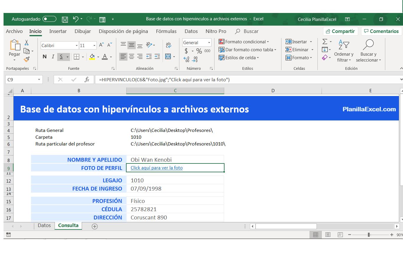 Base de datos Excel - Ruta
