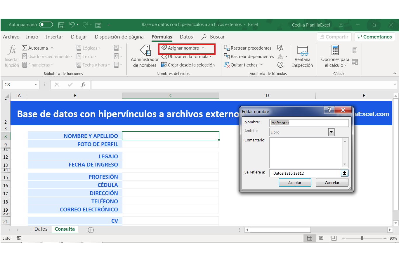 Base de datos en Excel -Lista desplegable