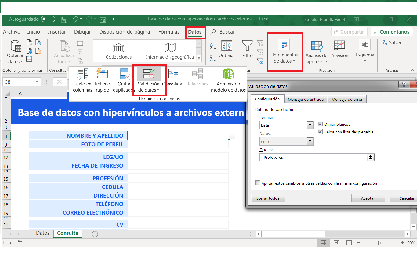 Base de datos en Excel Lista desplegable